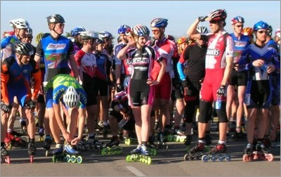 Skaters lining up for race