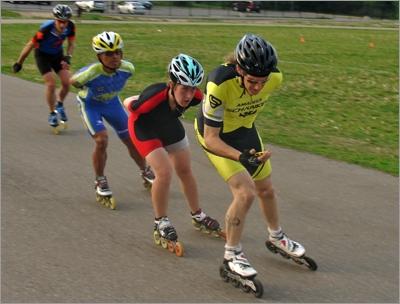 Skaters doing interval training