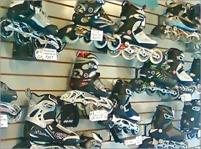 A wall of inline skates at Asphalt Beach